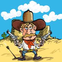 Cartoon gunman in the wild west