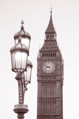 Lamppost and Big Ben, London