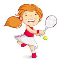 Vector girl playing Tennis
