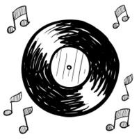 Vinyl LP record illustration in vector format