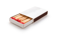 side view matchbox on white