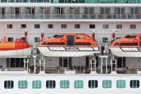 Orange lifeboats installed on passenger liner