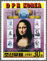 North Korea 1981 Mona Lisa and six French stamps