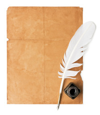 blank scroll, quill pen, writer set stock vector - freeimages, Powerpoint templates