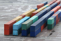 Cargo containers in port