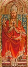 Needlework of Jesus Christ inspired by Jan van Eyck