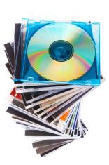 Spiraling Stack of Music CDs
