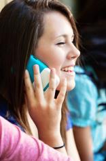 Happy girl on the phone