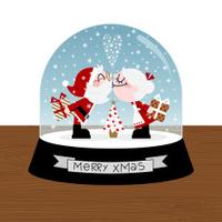 xmas kiss christmasball santa claus love retro illustration vect