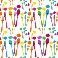 Happy cutlery cartoon pattern