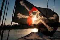 Pirate flag at sunrise