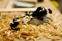 Wood plane with shavings