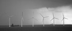 Wind Turbines Off Shore, Denmark