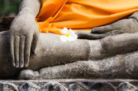 Detail of Buddhist Statues at Ayutthaya Temple in Thailand.