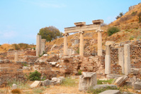 Ruins of columns in ancient city Ephesus