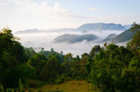 Burmese morning landscape with mist in Shan State