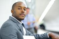 businessman portrait in the subway