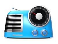 blue retro style radio(front view)