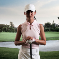 Intense Women Golfer