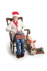 Grandma and the lazy dog.
