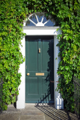 Georgian style green wooden door
