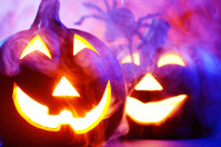 Halloween pumpkins in dark blue with spider web and smoke