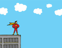 Superhero standing on a building ledge