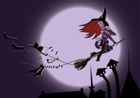 Halloween witch flying entangled in a clothes rope!