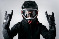 Motocross Motorbike Rider with Enduro Helmet Gesture
