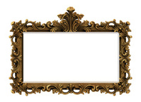 Rectangle Baroque Gold Frame with Clipping Path.