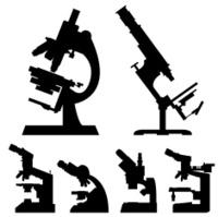 Laboratory microscopes silhouettes vector