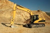 Excavator at open pit mine