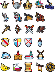 Set of medieval icons