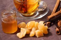 Winter tea with lemon, honey, cinnamon and ginger candies