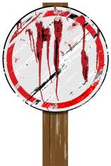 Grunge Sign on Wood Post   Round