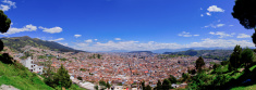 Panoramic view of Quito in Ecuador blue skyes