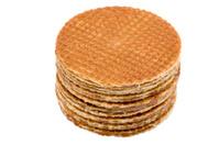 waffles with caramel on white macro