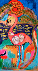 "Original Painting, ""Flamingo"", Acryic on Canvas"