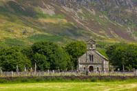 Small church at Snowdonia mountain range