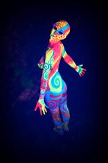 Girl in UV Body paint