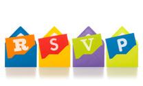 RSVP on notepaper emerging from colourful envelopes
