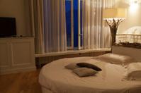 romantic bedroom at evening