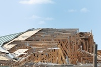 Storm damaged building