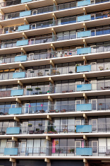 Facade of a modern apartment block in Nijmegen, Netherlands