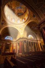 Church with Light Shining Through Window