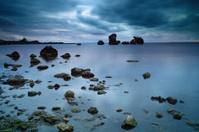 Stones in the seashore at night