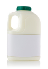 One pint of semi skimmed milk on a white background