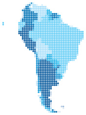 South America dotted blue
