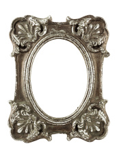 Stained oval silver picture frame with clipping path