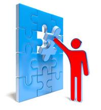 3d man mounting last puzzle piece